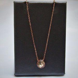Shimmering Rose Gold-Tone CZ Pendant Necklace